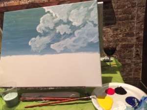 Step 1: Sky and clouds
