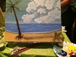 Step 3: A dash of sand and a palm tree
